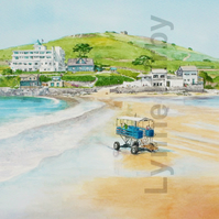 Burgh Island Bigbury -on-Sea Devon print. Mounted to 14x11""