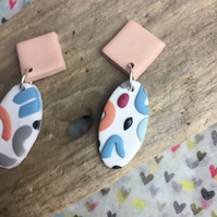 Handmade earrings in polymer clay, no149 wiggles range