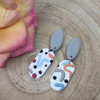 Handmade earrings in polymer clay, no157 wiggles range