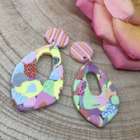 Handmade earrings in polymer clay, no159 pastel and apricot