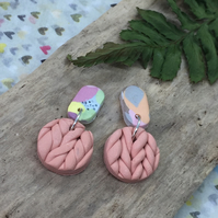 Handmade earrings in polymer clay, no160 pastel and apricot