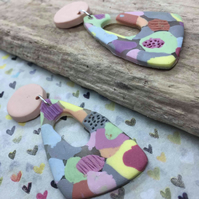 Handmade earrings in polymer clay, no162 pastel and apricot