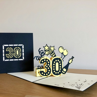 30th Birthday pop up cards- 30th Birthday cards - 30th Wedding Anniversary