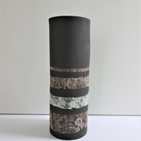 Fifi. Stoneware ceramic vase with decorative pastel colours