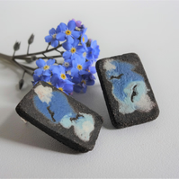 Handmade ceramic earrings. Birds and clouds design, sterling silver fittings.