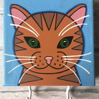 Hand painted ginger cat canvas with hooks for accessories, masks etc