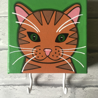 Hand painted ginger cat canvas with hooks for accessories (masks etc)
