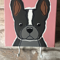 Hand painted black, white & grey Frenchie canvas with hooks for stuff