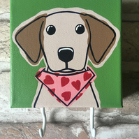 Hand painted yellow Lab puppy with heart bandana with hooks for leads or keys