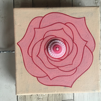 "Hand painted 5"" rose canvas picture with buttons and a hook for keys"