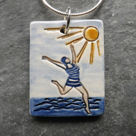 Beach Belle ceramic pendant in blue yellow and white