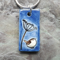 Handmade Ceramic Wren under Cow Parsley pendant in blue and brown