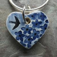 Handmade Ceramic Summer Garden Heart Pendant in blue