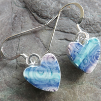 Handmade Heart-shaped ceramic drop earrings in turquoise blue and purple