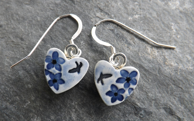 Summer Garden heart-shaped ceramic and sterling silver drop earrings in blue