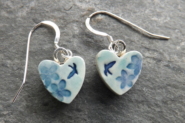 Summer Garden ceramic and sterling silver Heart drop earrings in turquoise