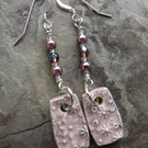 Handmade ceramic, glass crystal and pearl, sterling silver drop earrings