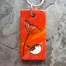 Handmade Ceramic Wren under Cow Parsley pendant in red, flame orange and brown