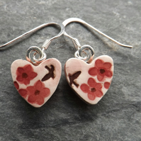 Summer Garden heart-shaped ceramic and sterling silver drop earrings in pink