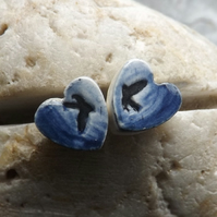 Handmade ceramic and sterling silver Swallows Heart stud earrings in blue