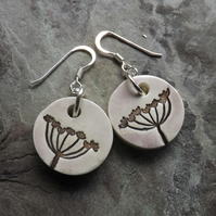 Cow Parsley ceramic and sterling silver drop earrings in brown and pale mauve