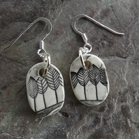 Trees ceramic and sterling silver drop earrings in black and white