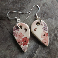 Summer Garden large handmade ceramic earrings in rose and lilac