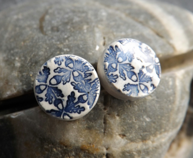 Handmade Ceramic and sterling silver Oak Leaf round stud earrings in blue