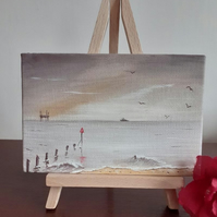 """Mellow Morning"" An original miniature seascape oil painting."