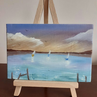 """Beating the Storm"" An original miniature seascape oil painting."