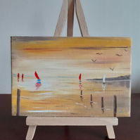 """Red Sails in the Sunset"" A miniature original oil painting."