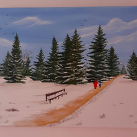 A Walk Through The Snow an original oil painting.
