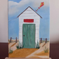 """Beach Hut and Kite"" A miniature original oil painting."