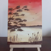 """Bulrushes at Sunset"" An original small landscape oil painting."
