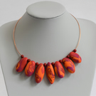 """Paisley"" Handmade Polymer Clay Pebble Necklace"