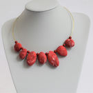 """Strawberries & Cream"" Handmade Polymer Clay Pebble Necklace"