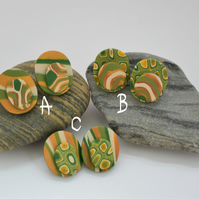 'Golden Acorn' Handmade, Oval Shaped, Polymer Clay Earrings