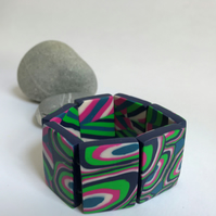 Blue, Teal, Hot Pink & Apple Green, Handmade Polymer Clay Tile Bracelet