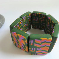 Glitter Gold, Lavender, Orange & Green, Handmade Polymer Clay Tile Bracelet
