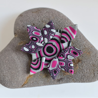 Stylized Star Brooch in Silver Glitter, Hot Pink & Black Polymer Clay