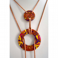 Gold, Hot Pink, Glitter Purple & Yellow Handmade Polymer Clay Lariat Necklace