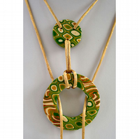 Golden Acorn Gold, Green, Olive & Cream Handmade Polymer Clay Lariat Necklace