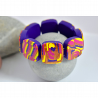 For Mum Gold, Hot Pink, Purple & Yellow Handmade Polymer Clay Tile Bracelet