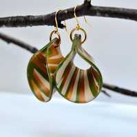 Golden Acorn Open Loop Drop Earrings in Gold, Cream, Olive & Green Polymer Clay