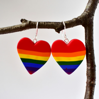 Polymer Clay Rainbow Pride Valentine's Day Heart Drop Earrings