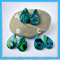 Tropical Dream Blue & Green Polymer Clay Petal Shaped Stud Earrings