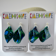 Tropical Dream Blue & Green Millefiori Style Polymer Clay Loop Earrings