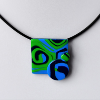 Tropical Dream Blue & Green Square Polymer Clay Pendant & Earring Set
