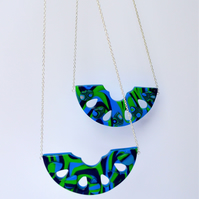 Tropical Dream Art Deco Style Blue & Green Abstract Polymer Clay Pendant