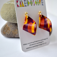 Jazz Gold, Copper & Purple Polymer Clay Loop Earrings